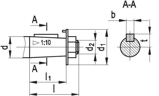 Присоединительные размеры входных валов редукторов КЦ2