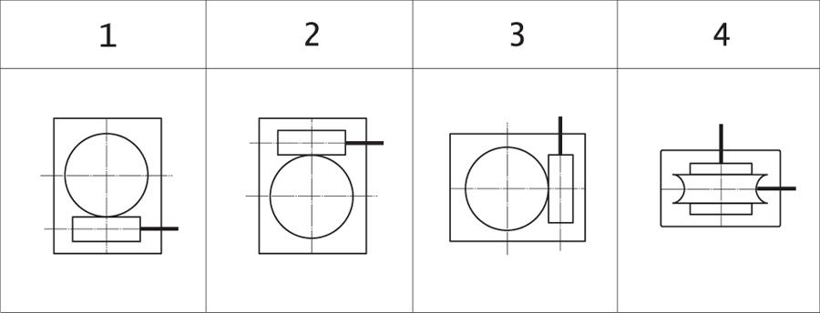 Варианты расположения червячной пары в мотор-редукторах МЧ, МЧ2, МПЧ (вид сбоку)