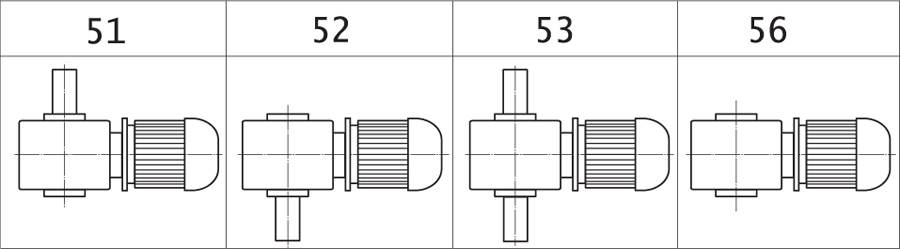 Варианты сборки мотор-редукторов МЧ, МЧ2, МПЧ (вид сверху, червяк под колесом)